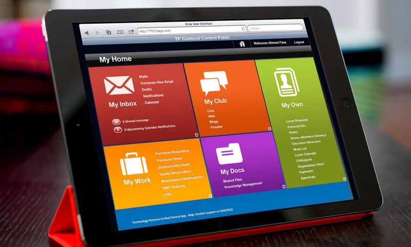 iPad corporate app UI